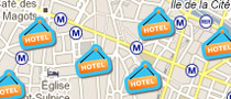 Paris hotels on a map